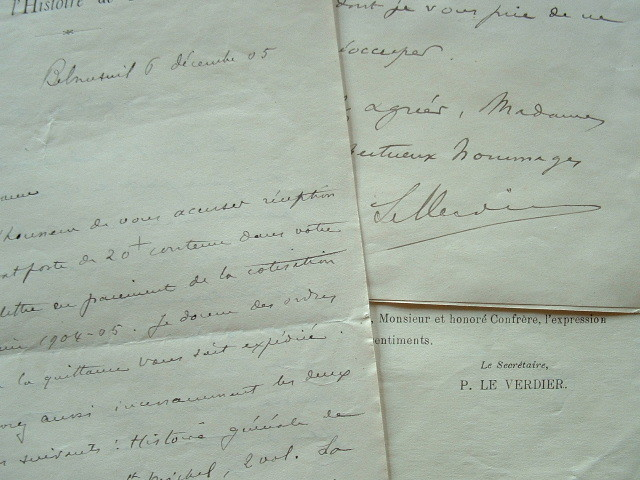 Correspondance de l'historien normand, Pierre Le Verdier.. Pierre Le Verdier (1854-1935) Historien de la Normandie.