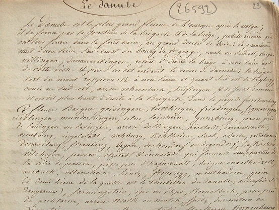 Etude manuscrite sur le Danube..