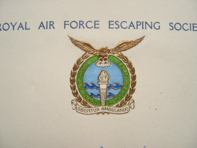 Carte de la Royal Air Force Escaping Society..