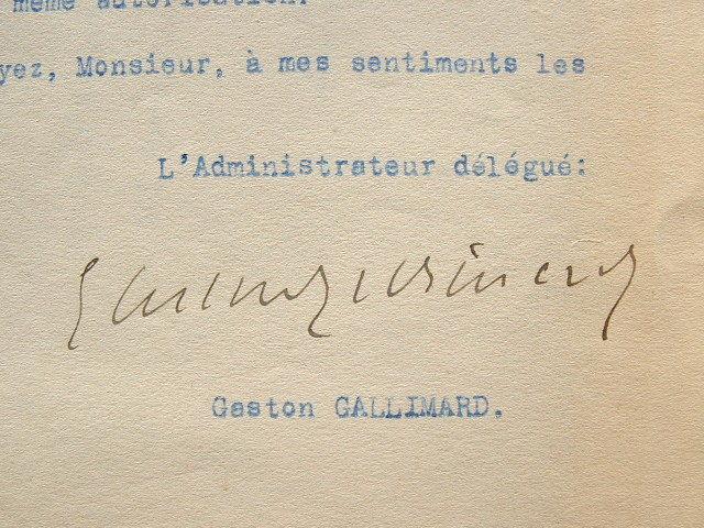 Gaston Gallimard dicte ses conditions.. Gaston Gallimard (1881-1975) Editeur, fondateur avec Gide et Schlumberger de la Nouvelle Revue Française ...