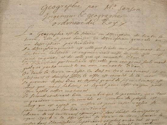 Manuscrit fin XVIIe-début XVIIIe sur la géographie de Sanson..