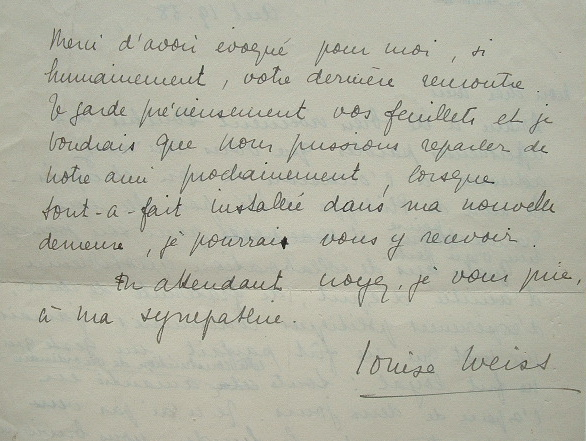 Louise Weiss frappée par la mort de son ami.. Louise Weiss (1893-1983) Journaliste et écrivaine féministe. Une des initiatrices de l'Union européenne, ...