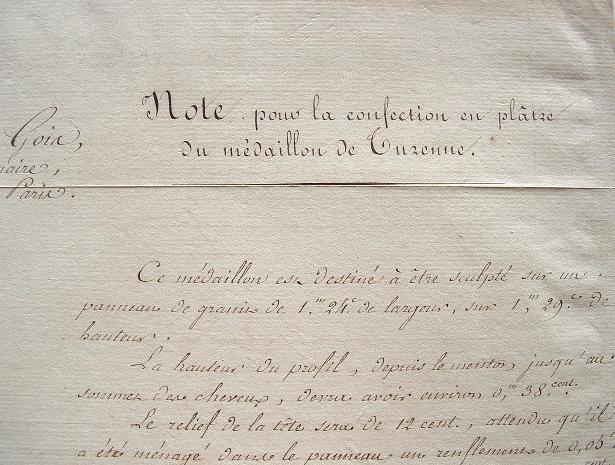 Commande d'un médaillon de Turenne au sculpteur Gois.. Joseph Rogniat (1767-1840) Général d'Empire.