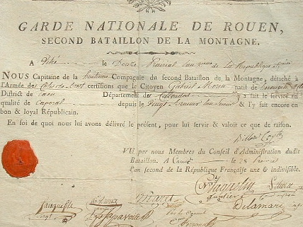 Certificat de la Garde nationale de Rouen..