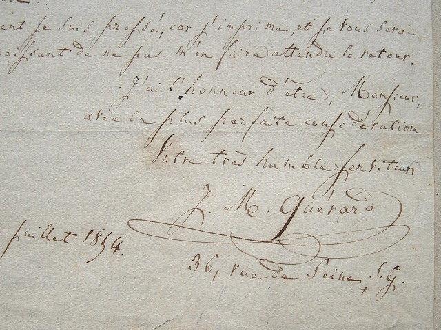 Quérard, bibliographe consciencieux.. Joseph Marie Quérard (1797-1865) Bibliographe, auteur de la France littéraire.