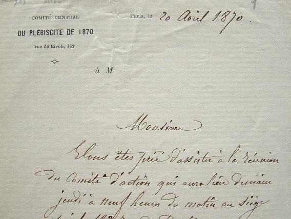 Les acteurs du plébiscite de 1870 se réunissent..