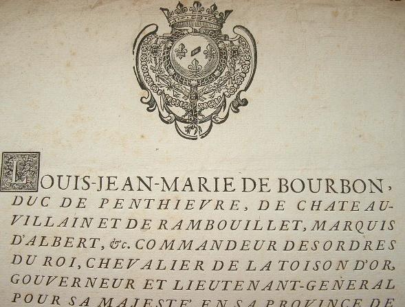 Duc de Bourbon-Penthièvre. Assemblée des Etats de Bretagne.. Louis Jean Marie Bourbon (de), duc de Penthièvre, de Chateauvillain (1725-1793) ...
