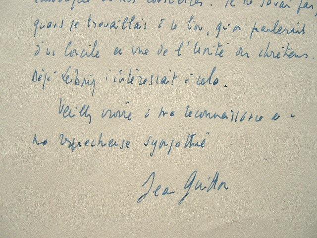 Jean Guitton rêve à l'unité des Chrétiens.. Jean Guitton (1901-1999) Philosophe chrétien. Membre de l'Académie française (1961).