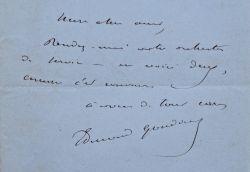 Billet énigmatique d'Edmond Gondinet.. Edmond Gondinet (1828-1888) Auteur dramatique et librettiste ; tous ses livrets d'opéra ont été mis en musique ...
