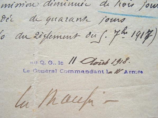 Une sanction infligée par le général Mangin.. Charles Mangin (1866-1925) Général, partisan de l'offensive à tout prix, il s'est particulièrement ...