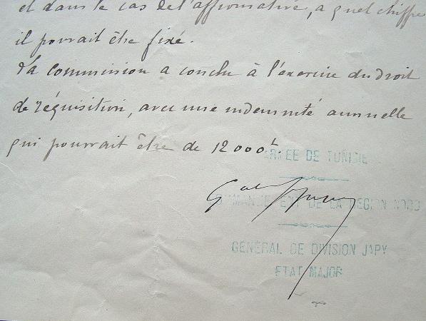 Réquisition du palais Khérédine, à Tunis.. Frédéric Benoît Japy (1826-1904) Général, commandant supérieur de Tunis.