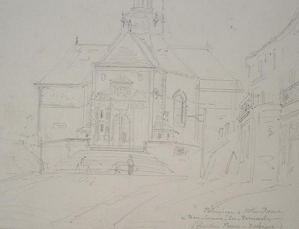 Dessin de la basilique de Péruwelz en Belgique..