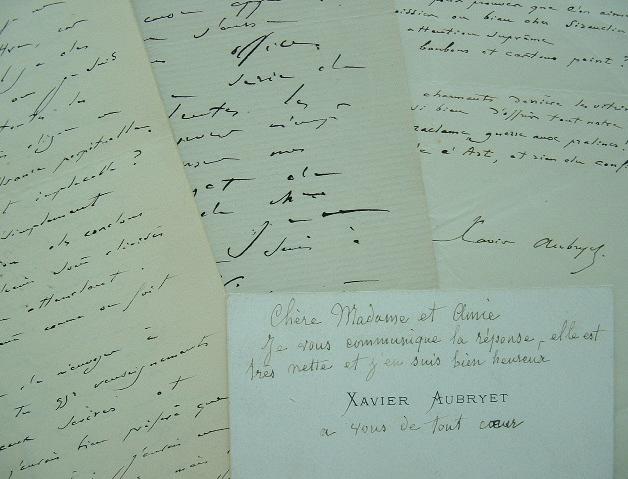 Correspondance de Xavier Aubryet.. Xavier Aubryet (1827-1880) Littérateur et humoriste, il collabore à de nombreuses revues littéraires.
