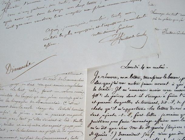 Feuillet de Conches se défait d'une correspondance de Beaumarchais.. Félix Sébastien Feuillet de Conches (baron) (1798-1887) Autographile, érudit.
