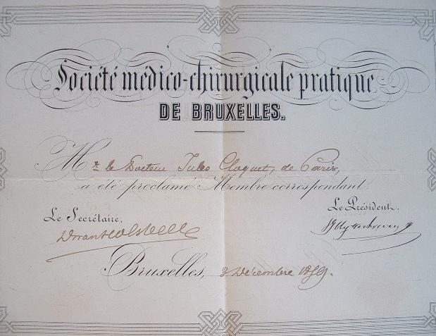 Cloquet, correspondant des sociétés de médecine de Berlin et Bruxelles..