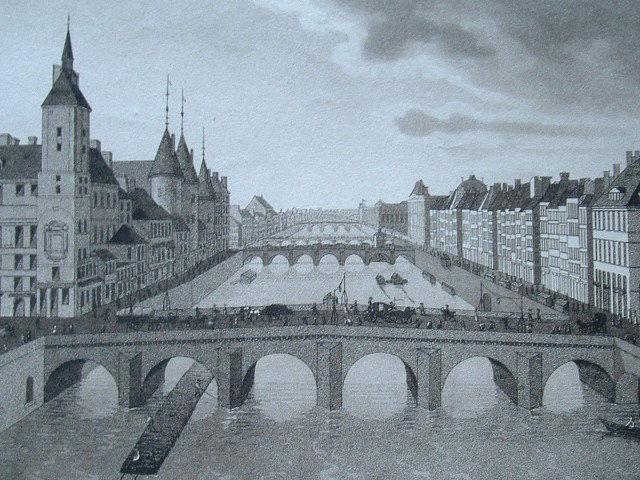 Jolie paire de lithographies de Paris..