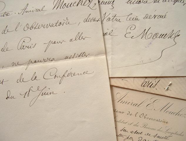 L'amiral Mouchez n'assistera pas à la conférence de Scientia.. Ernest Mouchez (1821-1892) vice-amiral, hydrographe, astronome, directeur de ...