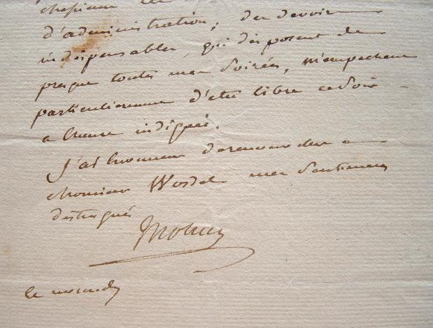 Mollien présente ses excuses.. Nicolas François Mollien (comte) (1758-1850) Ministre du Trésor public (Finances) de Napoléon, de 1806 à 1814.