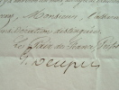 Réponse du préfet de Police Gabriel Delessert. Gabriel Delessert (1786-1858) Préfet de police sous Louis-Philippe (1836-1848).