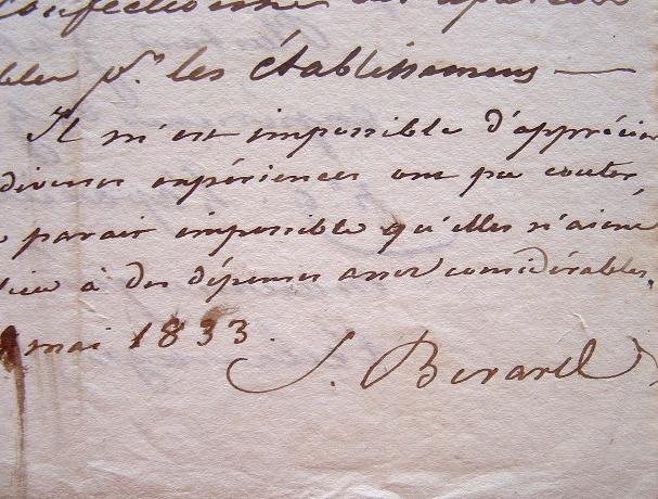 Simon Bérard témoigne d'expériences de mouture.. Simon Bérard (1783-1859) Homme politique et industriel, directeur général des Ponts et Chaussées, ...