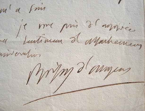 Lettre de Boissy d'Anglas écrite durant les Cent-jours.. François Antoine Boissy d'Anglas (1756-1826) Conventionnel, membre du Comité de Salut Public, ...