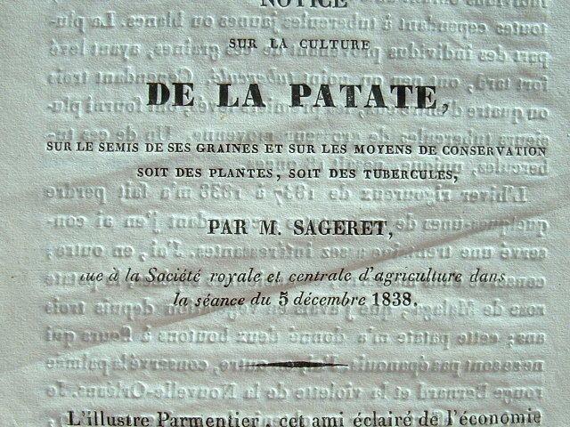 Sageret livre ses conseils sur la culture de la patate.. Augustin Sageret (1763-1852) Agronome, membre de la Société royale d'agriculture, auteur ...