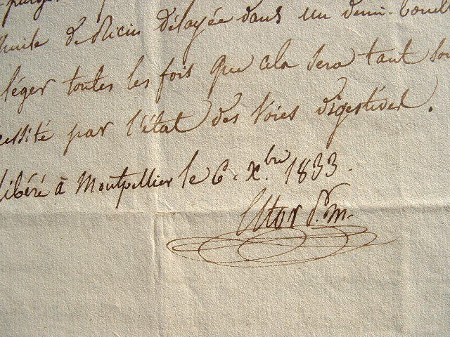 Eugène Estor rédige une consultation médicale.. Eugène Estor (1796-1856) Chirurgien, auteur de plusieurs ouvrages. En 1823, sa thèse, Essai sur les ...