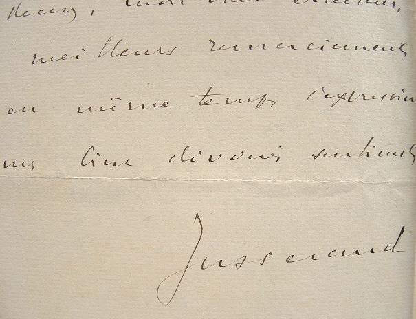 Lettre de l'ambassadeur de France à Washington, Jules Jusserand.. Jules Jusserand (1855-1932) Ambassadeur de France à Washington durant vingt deux ans ...
