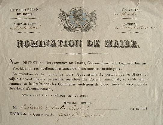 Le préfet du Doubs nomme un nouveau maire.. Victor Tourangin (1788-1880) Préfet, conseiller d'Etat et sénateur.