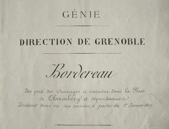 Plan des travaux pour Chambéry en 1867..