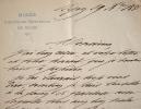 Correspondance du directeur du Musée d'Histoire naturelle de Dijon.. Louis Marchant (1828-1920) Médecin, archéologue et naturaliste, directeur du ...
