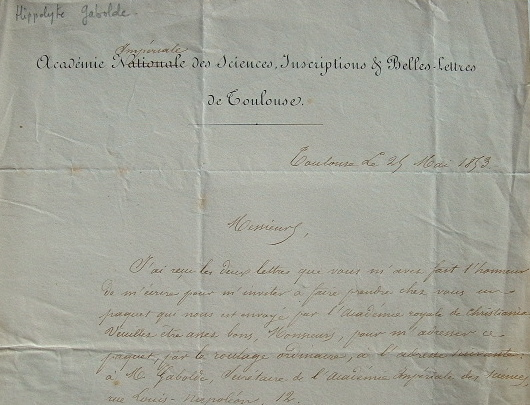 Un envoi de l'Académie de Christiania à l'Académie de Toulouse..