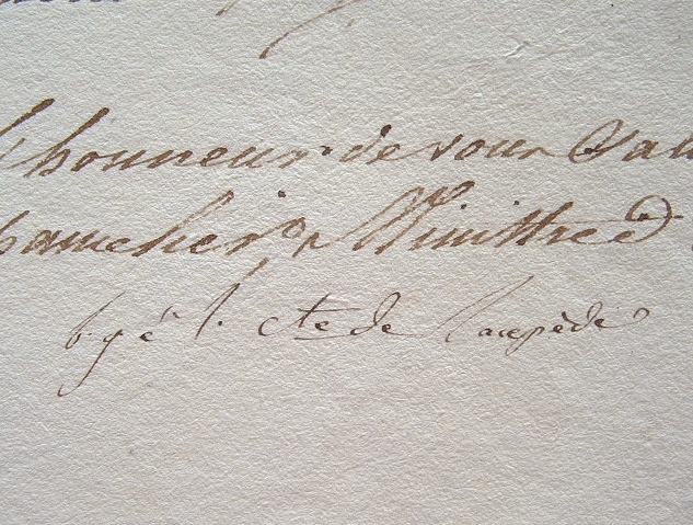Recommandation de Lacépède.. Bernard Germain Etienne Lacépède (comte de) (1756-1825) Naturaliste, zoologiste et herpétologiste, collaborateur de ...