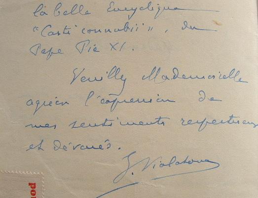 Lettre du philosophe lyonnais Joseph Vialatoux..