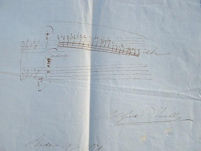 Portée de musique signée Alfred Jaëll.. Alfred Jaëll (1832-1882) Pianiste autrichien, ami de Liszt.