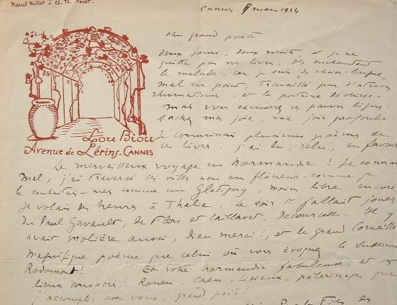 Marcel Millet loue la poésie de Charles Théophile Féret.. Marcel Millet (1886-0) Romancier et poète cannois.