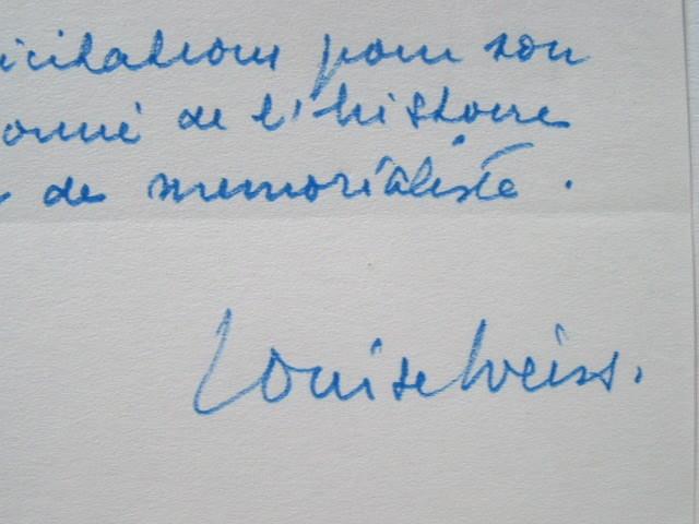 Les voeux de Louise Weiss.. Louise Weiss (1893-1983) Journaliste et écrivaine féministe. Une des initiatrices de l'Union européenne, fondatrice de ...