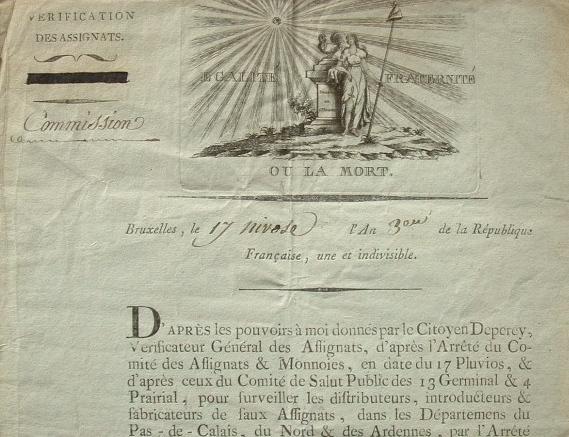 Belle vignette sur une lettre du vérificateur des assignats..