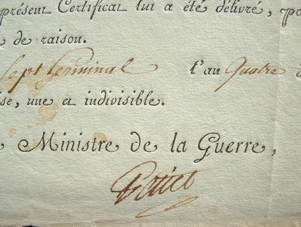 Petiet réquisitionne un employé des Ponts-et-Chaussées.. Claude Louis Petiet (1749-1806) Ministre de la Guerre sous le Directoire, intendant général ...