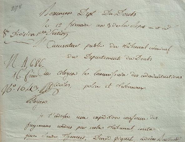 L'accusateur public du Doubs prononce quatre condamnations aux fers..