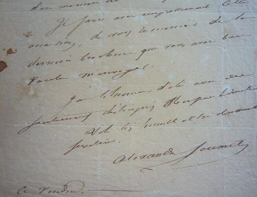 Alexandre Soumet recommande l'actrice Gersay.. Alexandre Soumet (1788-1845) Poète romantique, académicien (1824).
