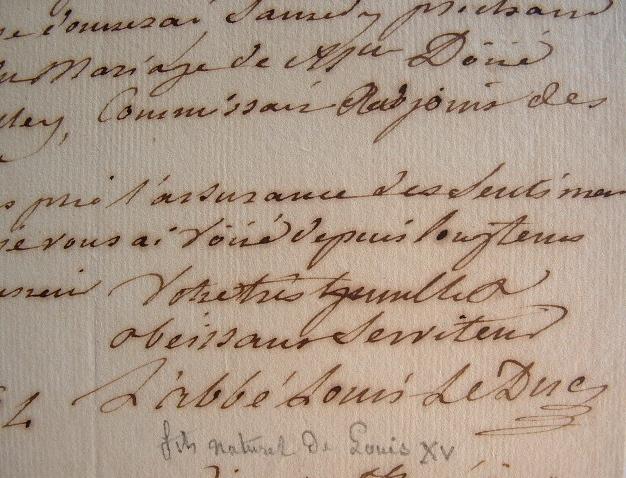 L'abbé Le Duc, fils naturel de Louis XV, protecteur de la famille Doüé.. Benoît Louis Le Duc (1764-1837) Fils naturel de Louis XV et de Louise Jeanne ...