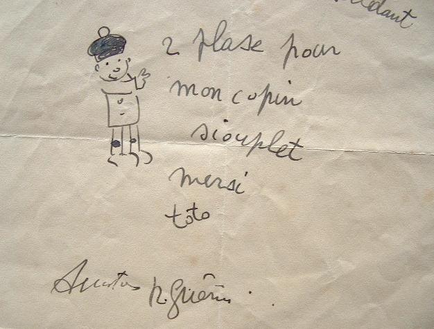 Billet humoristique illustré du dessinateur Raoul Guérin.. Raoul Guérin (1890-1984) Dessinateur humoristique.