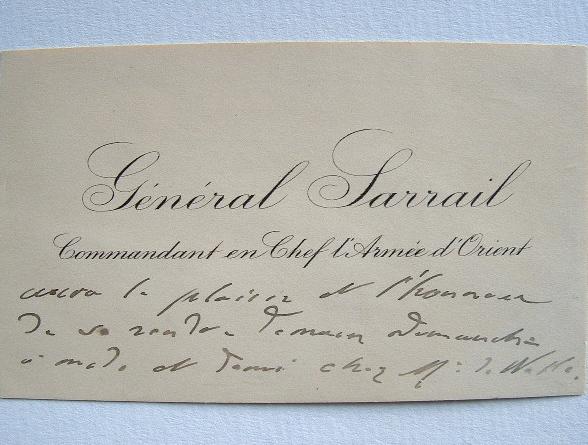 Le général Sarrail, commandant en chef l'Armée d'Orient.. Maurice Paul Emmanuel Sarrail (1856-1929) Général, commandant en chef des armées alliées ...