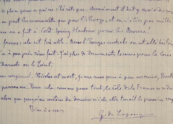 Lettre du fondateur des théories eugénistes, Vacher de Lapouge.. Georges Vacher de Lapouge (1854-1936) Anthropologue, théoricien de l'eugénisme.