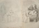Paire de dessins originaux pour illustrer l'Histoire d'Angleterre..