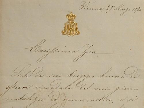 Lettre de l'archiduchesse d'Autriche, Marie-Annonciade.. Marie-Annonciade Bourbon des Deux-Siciles (1843-1871) Archiduchesse d'Autriche, épouse de ...