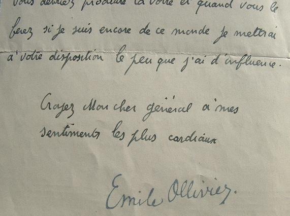 Emile Ollivier soutient Lyautey à l'Académie française.. Emile Ollivier (1825-1913) Chargé par Napoléon III de former le ministère du 2 janvier 1870, ...