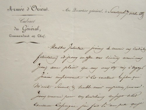 Pélissier perd son aide de camp à l'assaut de Malakoff.. Aimable Jean Jacques Pélissier (duc de Malakoff) (1794-1864) Maréchal. Fait duc de Malakoff ...