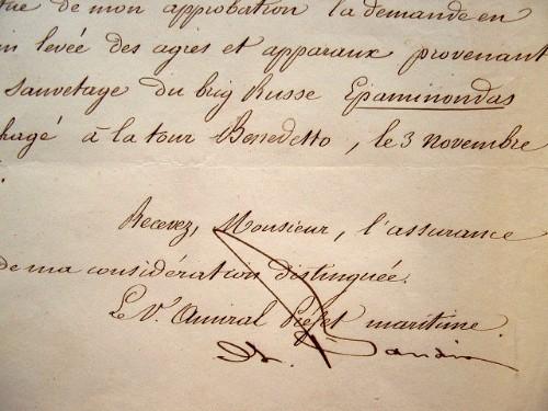 L'amiral Baudin fait le nécessaire après le sauvetage d'un navire russe.. Charles Baudin (1784-1854) Amiral, il avait eu un bras emporté par un boulet ...